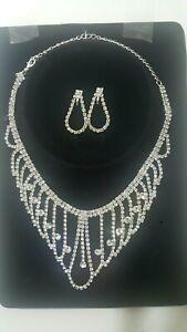 Women Fashion Lovely Crystal,Diamonte Necklace Set Wedding,Party Wear UK Seller