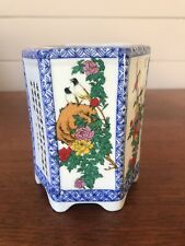 Vintage Chinese Hand Painted Hexagonal Brush Pot/Vase Chinese Characters