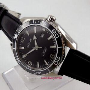 45mm PARNIS Black dial Sapphire Date MIYOTA Automatisch movement Uhr men's Watch