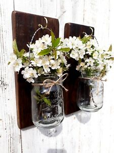2 LARGE RECYCLED RUSTIC WOOD WALL MOUNTED FLOWER GLASS MASON JAR CANDLE HOLDER