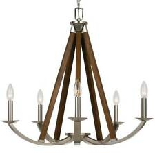 "Brushed Steel & Wood Chandelier Candlesticks Mid Century Rich Walnut 24""Wx26""H"