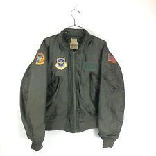 Vintage 80s CWU-36/P Summer Jacket Pilot Flyers Size Large Olive Patches