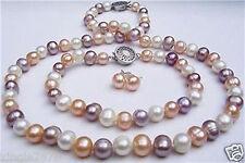7-8mm white pink purple freshwater pearl necklace + bracelet +earrin 20 7.5 inch