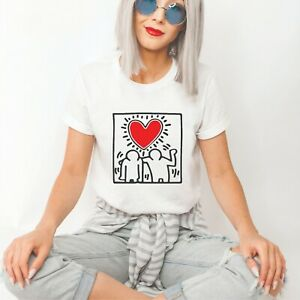 Keith Haring Love Unofficial Design T-Shirt - White Colour - MSR0048