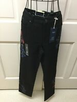 NWT Charter Club Lexington DNM 10 Black Jeans Tummy Control Embroidered Flowers