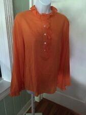 TORY BURCH Orange Cotton Ruffled Half Button Down LS Blouse Tunic Top Size 8