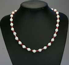 """White opaque jade stone bead necklace, red AB glass crystals 19.5"""" +2"""