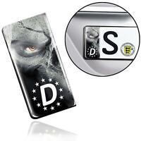 3D Gel Silikon Aufkleber Nummernschild Kennzeichen Stickers EU Schädel Plakette