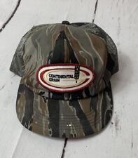 Vintage Continental Grain Camo Snapback Hat Cap K-Products John Deere USA