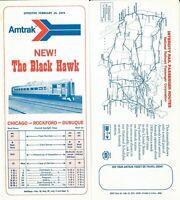 "1974 Amtrak timetable ""Black Hawk"" Chicago-Rockford-Dubuque Iowa Free Shipping"