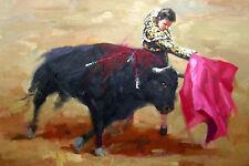 Fight Abstract Bullfighting Spanish Bullfighter Impressionism Animal Painting