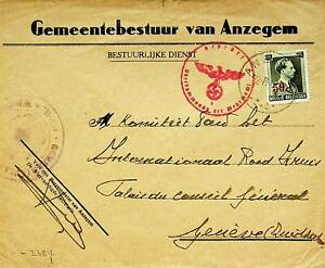 BELGIUM FAMOUS PEOPLE 50c S/C 1v ON WWII CENSOR COVER TO SWITZERLAND