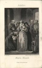 Stampa antica SCHILLER Maria Stuart 1860 Old antique print Alte stich