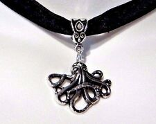 BLACK VELVET SILVER OCTOPUS CHOKER gothic steampunk pirate nautical necklace O4