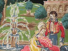 VTG SCENIC COURTING LADY & SOLDIER BARKCLOTH ERA DRAPE FABRIC Plantation 22 YDS