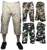 Mens 3/4 Long Pants 2 in 1 Shorts Elasticated Waist Cargo Combat Three Quarter