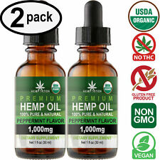 Peppermint Hemp Oil Drops for Pain Relief, Stress, Anxiety, Sleep (2 PACK)