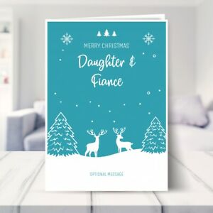 Daughter and Fiance Christmas Card - Cute Reindeer Scene 7 x 5