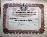 Oil - 'San Juan Exploration Company' 1920 Stock Certificate - New Jersey NJ