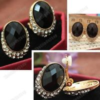 CLIP ON faceted BLACK OVAL EARRINGS gold plated CRYSTAL rhinestone CLIPS