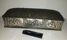 Antikes Silber Schmuck Box 24 cm lang -William Comyns 1907 mit Kissen Top