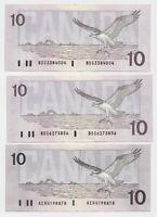 1989 $10 Bank of Canada Bird Series Thiessen Crow - AU (About Uncirculated)