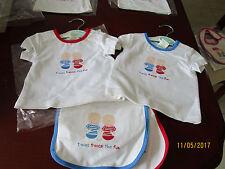 TWIN  TOPS BY BABY KA BOOSH SIZE 00000 - TWINS TWICE THE FUN + TWO BIBS
