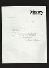 William S. Rukeyser: signed 1979 letter by editor of MONEY and FORTUNE magazines