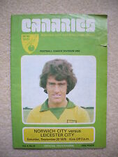 Norwich City v Leicester City Football Programme 1975/1976