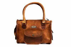 "Handmade Bag 13"" Women's Vintage Leather G V B Purse Tote Shoulder Cross Body"