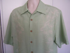 Jamaica Jaxx Mens Green Silk Authentic Island Style Hawaiian Floral Shirt Medium