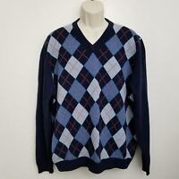 Brooks Brothers Scottish Lambswool Sweater XL Blue Argyle V Neck L/S Pullover