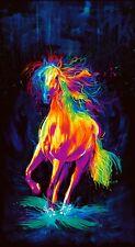 "Painted Horse Black Hirses Digitally Printed Fabric  23"" Panel    #CD6595-BLK"