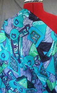Remnant Poly Cotton Fabric 2 pieces 75cms x 100cm  - Blue/Green Abstract R461