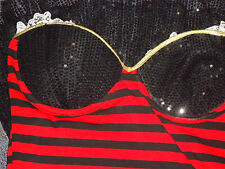 BlackSequinNetFrilledStripedStraplessMicroMini as NEW