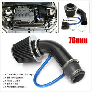 76mm Car Cold Air Intake Filter Induction Pipe Power Flow Hose Kit Joiner Clamp