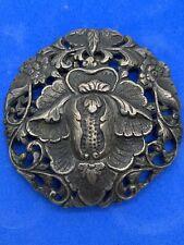 "Antique 800 Silver Estate 2.5"" Round Flower Scarf & Dress Clip ~ 1920s UK"
