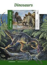 More details for liberia dinosaurs stamps 2020 mnh prehistoric animals stegosaurus 1v s/s