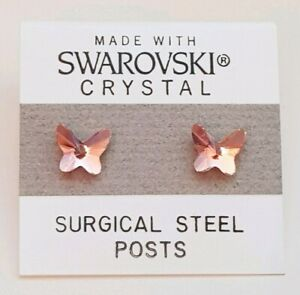 Pink Crystal Butterfly Stud Earrings 7mm Made with Swarovski Elements