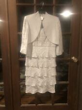 Women's Size 10 Davids Bridal Silver Dress With Jacket