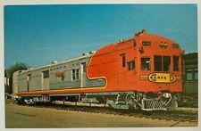 RR Postcard Santa Fe Railroad Brill M160 gas electric car locomotive warbonnet