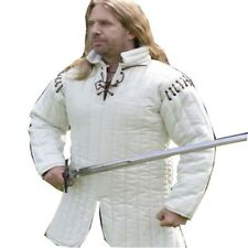 WHITE COTTON  GAMBESON WITH REMOVABLE SLEEVES