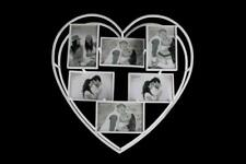 """Large 3D White Heart Multi Deep 6 Aperture Metal Photo Frame Wall Mounted 4x6"""""""