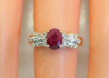 Gorgeous Women's Estate 14K Gold 1 Ct Sol Oval Indian Ruby & Diamond Ring