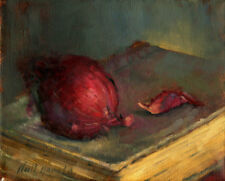 Red Onion on Old Leather Novel 8x10 in. Original Oil on canvas Hall Groat II