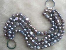 "baroque bracelet 7.5"" nature 6-8mm wholesale 4rows freshwater pearl black"