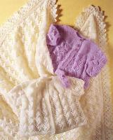 "Baby Shawl Matinee Coat & Headband DK OR 4 Ply Knitting Pattern 14"" -18"""