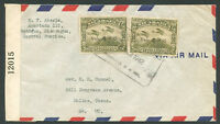 NICARAGUA TO USA Air Censor Cover 1942