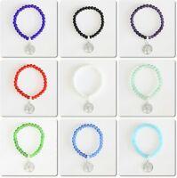 Round Crystal Beads Silver Tone Tree of Life Charm Bracelet