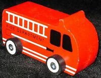 NEW PAINTED WOODEN TOY VEHICLE RED FIRE ENGINE